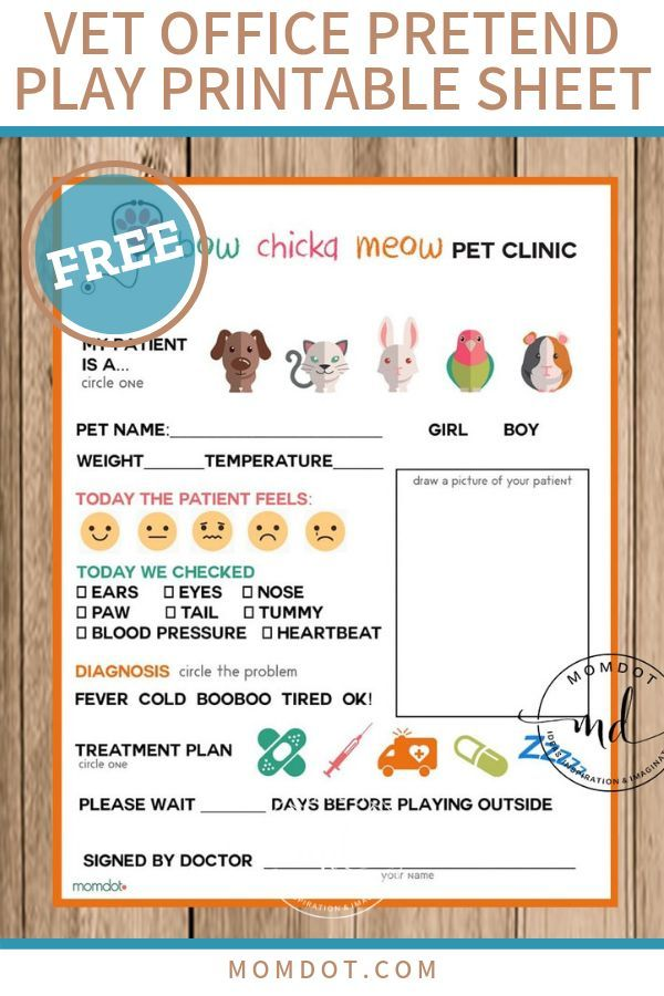 Free Printable Vet Office Pretend Play Sheet In 2020 Pretend