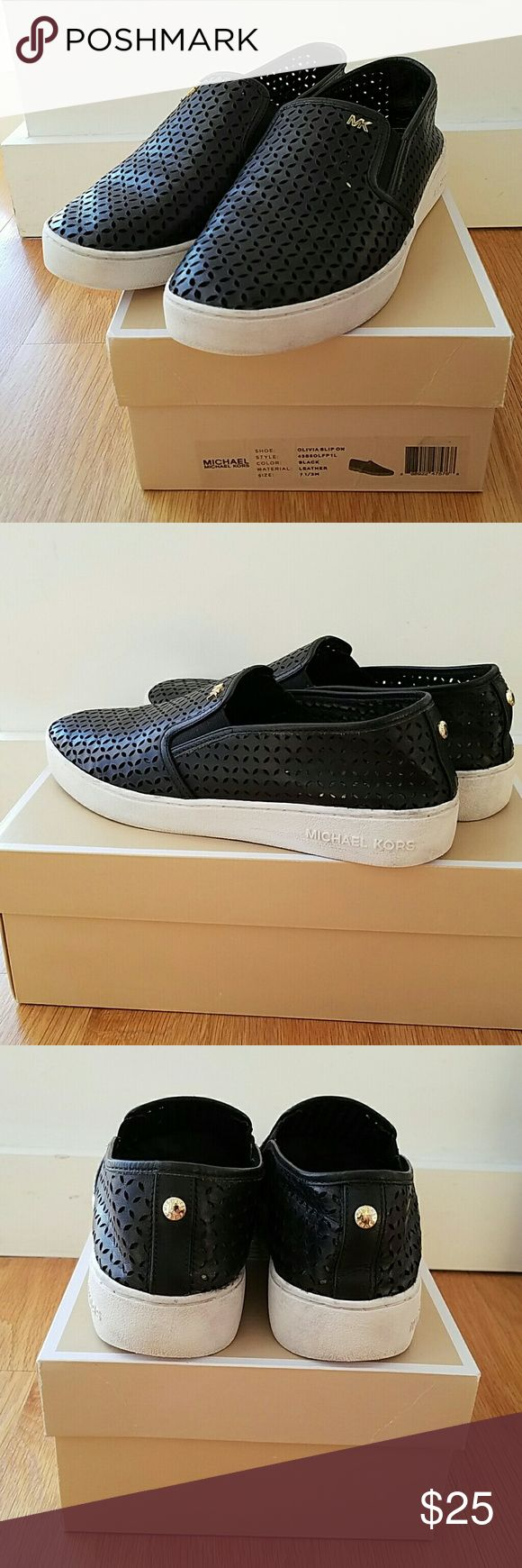 Slip on laser cut sneakers Black Olivia laser cut slip on black leather sneakers with white sole. Gold logo initials on front, branded snap on back. Signs of wear on white sole (impossible to keep brand new!) But still in good condition MICHAEL Michael Kors Shoes Sneakers