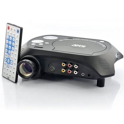 Multimedia LED projector with built-in DVD player playing movies directly from the projector or by plugging in a USB drive. Your all-in-one solution for enjoying movies and games on a big screen has a
