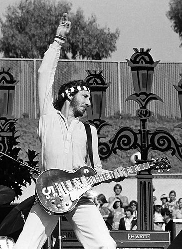 Pete Townshend's #5 Gibson Les Paul  For years the Who's guitarist kept an array of modified Les Pauls on stage, numbering them 1-9 so they could each be tuned accordingly. The wine red #5, seen in the film The Kids Are Alright, is probably the most famous of the bunch.