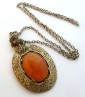 Vintage Large Scottish Thistle Pendant And Necklace By Miracle.