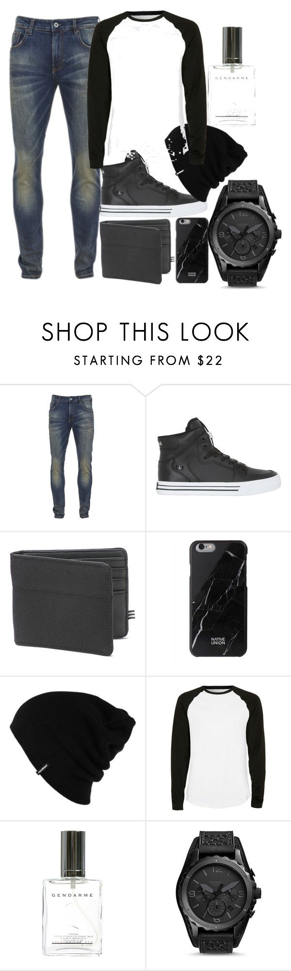"""Men outfit"" by fashion-is-passion23 ❤ liked on Polyvore featuring Scotch & Soda, Supra, 1 Voice, Native Union, Patagonia, Topman, FOSSIL, men's fashion and menswear"