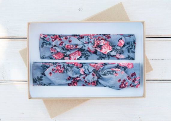 Mommy+and+Me+Knot+Headband+Set++Gray+Coral+by+WearLoveAmalieMaren