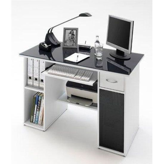 Max White Finish Computer Desk With Dark Grey Glass Top