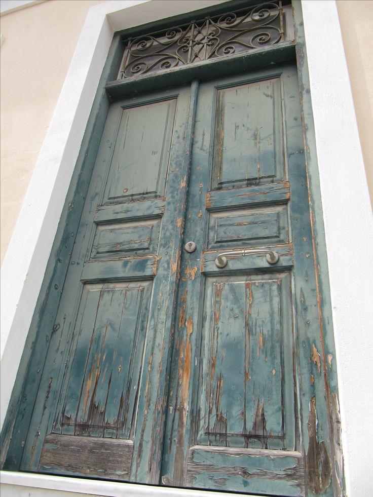 A blue green door at Tolo, Peloponnese, Greece #door
