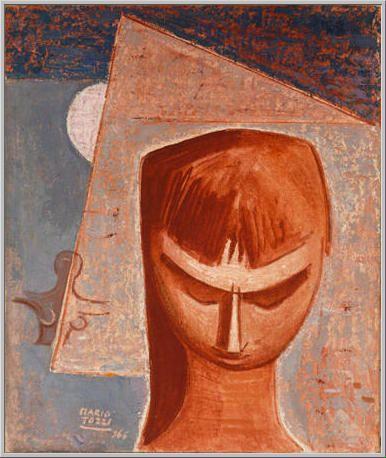 Mario Tozzi 1966: Sguardo Basso. Olio su Tela cm.46x65 - Collezione Privata Baveno - Archivio n.1727 - Catalogo Ragionato Generale dei Dipinti n.66/72.