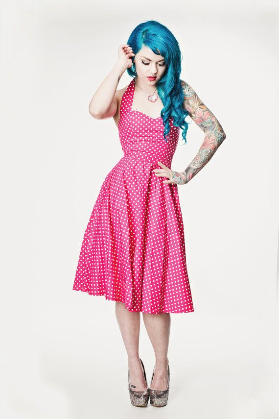 Pink polka dot Rockabilly dress Pin up 50's style by Cyanidekissx, £50.00