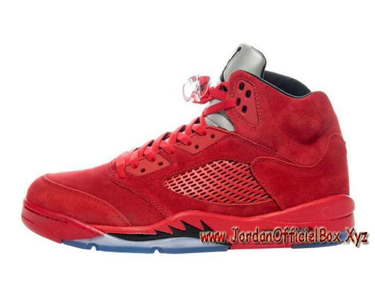 Air Jordan 5 Retro Red Suede 136027-602 Chaussures Officiel prix 2017 Pour  Homme Rouge