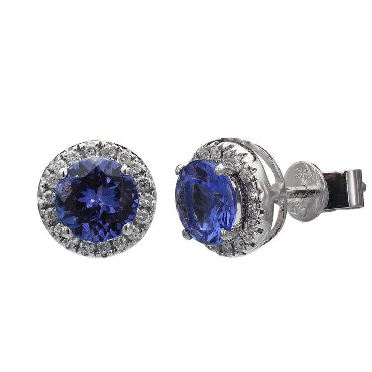 Tanzanite Earrings in 14kt White Gold with Diamonds (1/7ct tw)
