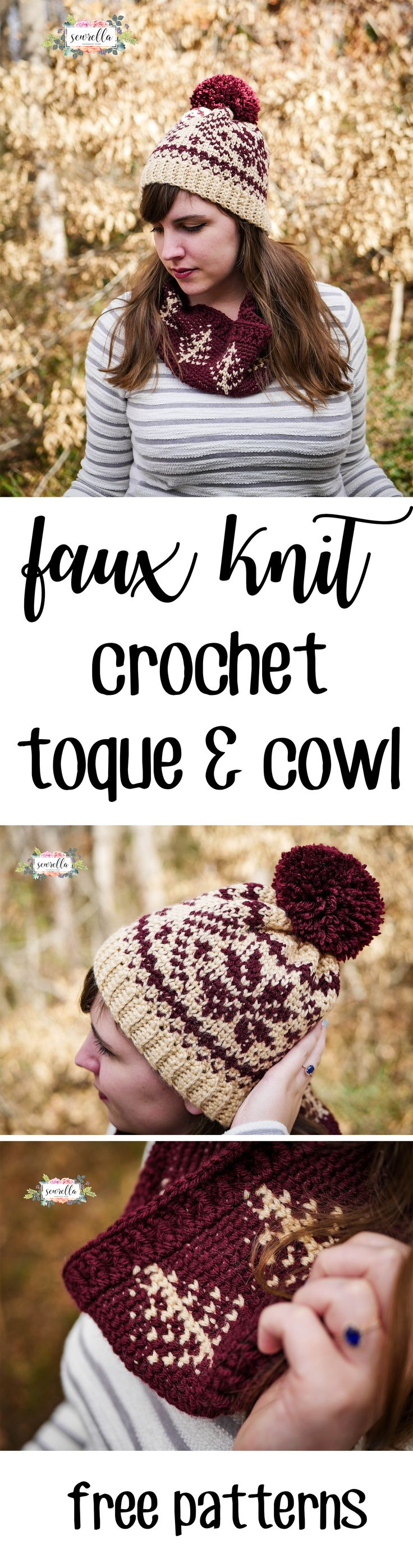 Faux Knit Fair Isle Crochet Toque Hat and Cowl Scarf Crochet Patterns are now on the blog! They use a basic center single crochet stitch and are oh so easy to make - even for beginner crocheters!   Free patterns from Sewrella