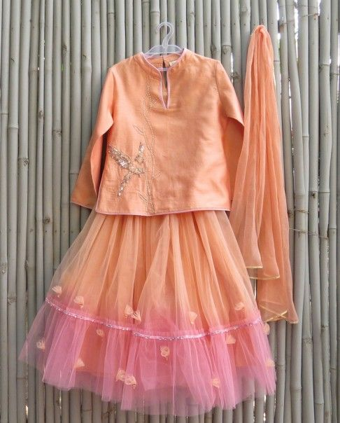 Blush Peach Lengha Set with Sequin Parrot Motif - Kidswear