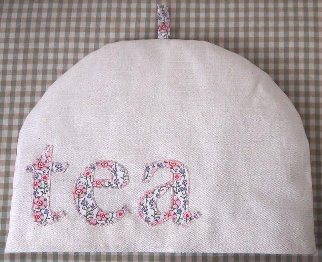Tea Cosy Cozy Handmade Vintage Fabric Pink Floral Applique £8.00