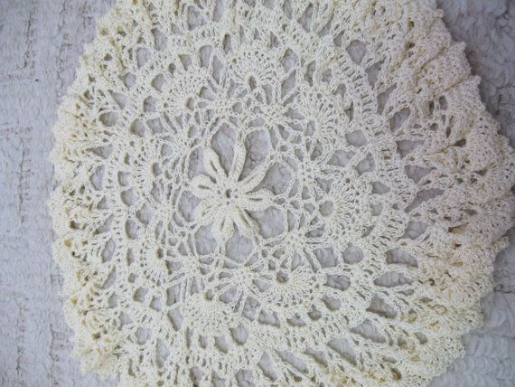 "Vintage Ornate Crochet Doilie Beige - Lamp Doily Table Doily - 15"" Across Light Beige Very Clean"