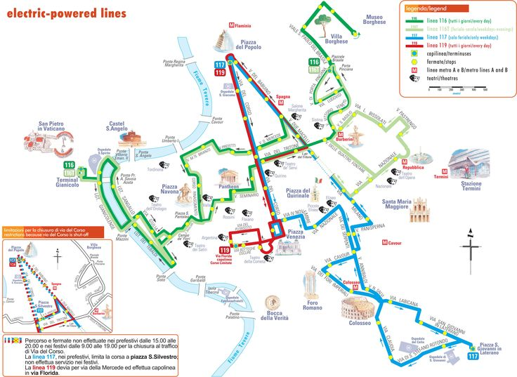 Map of Rome Bus Routes | Map of trolleybus lines in Rome ...