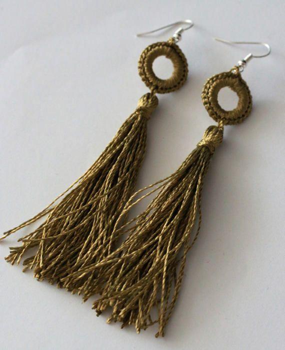 Crochet tassel EarringsDangle Earringshippie style by UpRo on Etsy