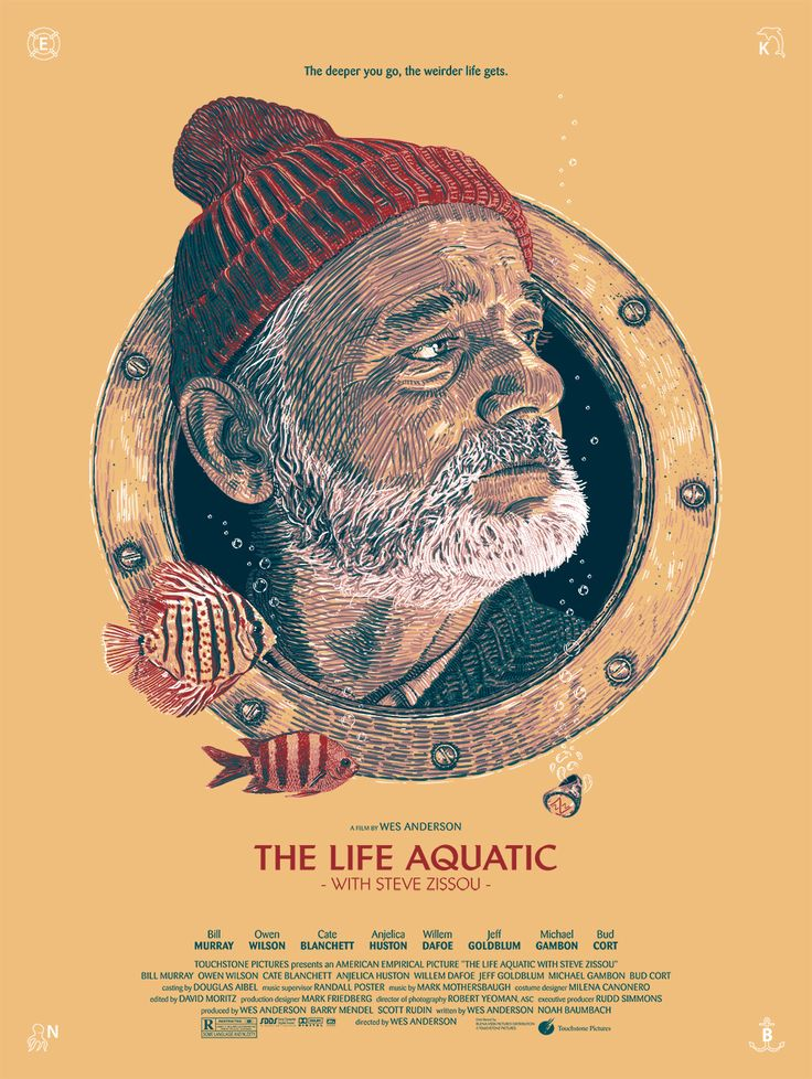 The Life Aquatic with Steve Zissou alternative movie poster by Guillaume Morellec