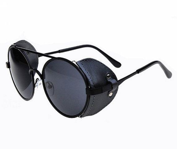 Retro Aviator Vintage Sunglasses - Fashion Handmade Mens Sunglasses Round Womens Sunglasses Goggles Eyewear - Black