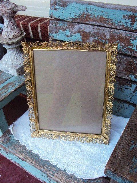 Vintage Metal Picture Frame Hollywood Regency Large 11x14
