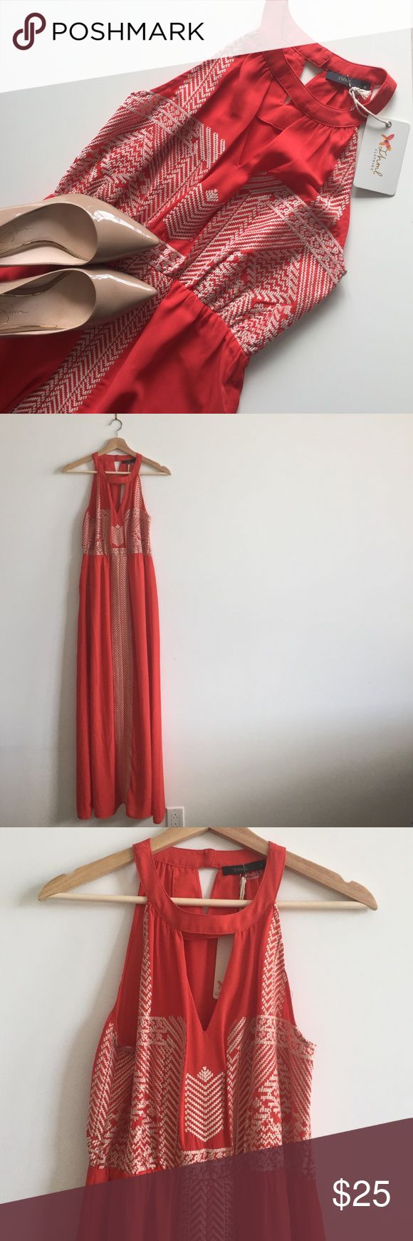 THML embroidered maxi dress Beautiful orange maxi with embroidered detail. Lined skirt. That perfect piece to complete your vacation wardrobe! New with tags. THML Dresses Maxi
