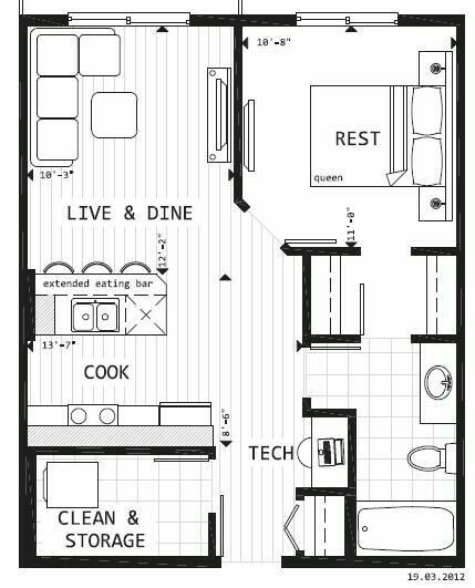 Perfect!!! I love this one. I would add a fireplace either a two sided one between living room & bedroom or where the couch is.