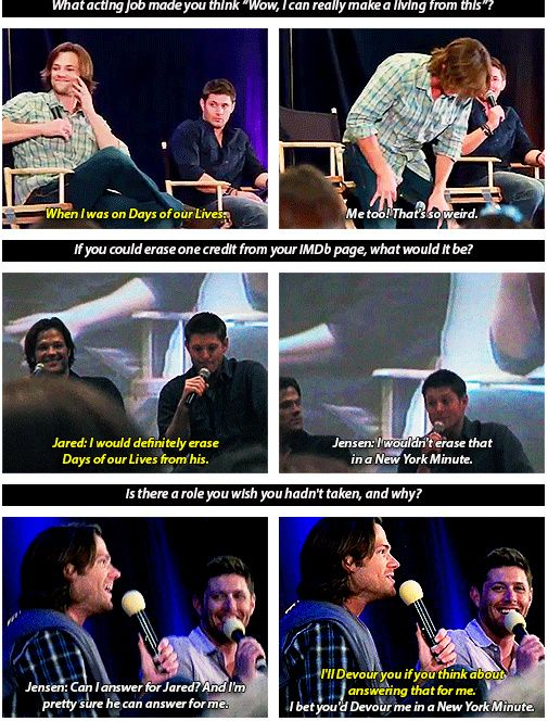 Jared and Jensen Q and A. Jensen was in Devour and Days of Our Lives whereas Jared was in New York Minute.