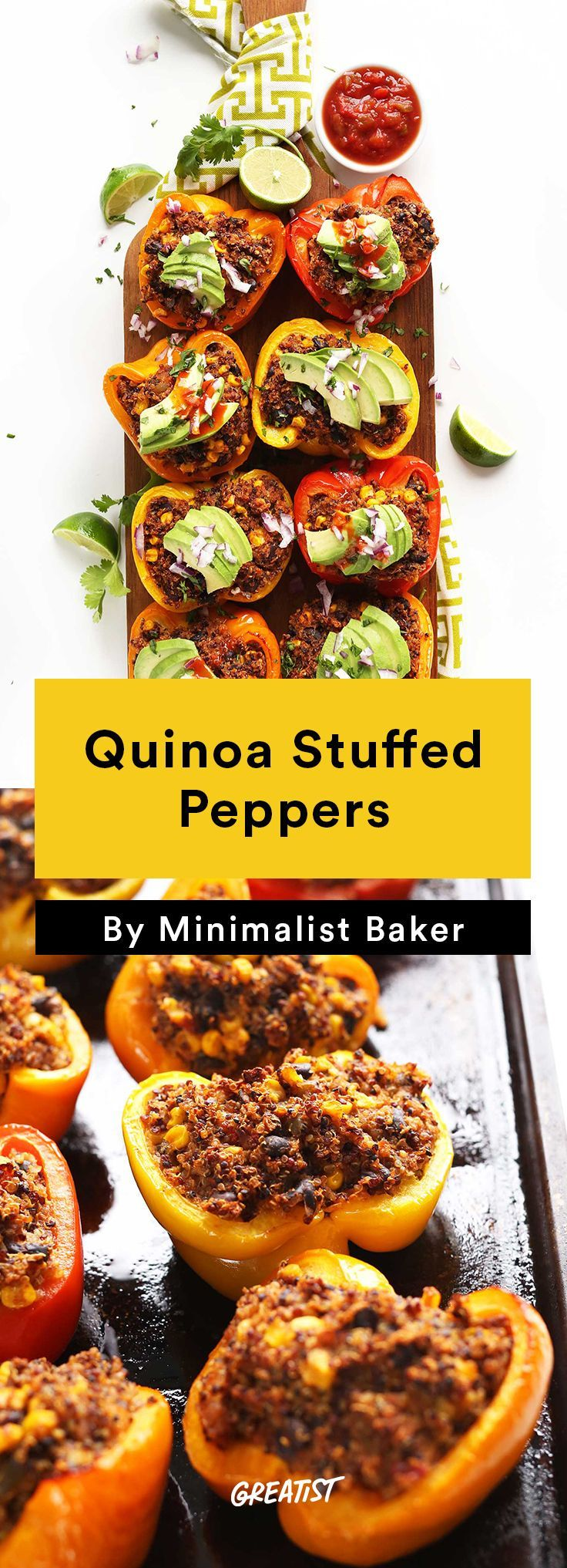 2. Quinoa Stuffed Peppers #easy #vegetarian #dinners http://greatist.com/eat/vegetarian-dinner-recipes-that-bake-in-one-pan