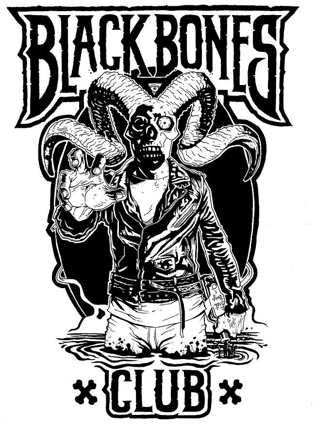 black and white monochrome hand drawn illustration in ink by lokhaan with black block shading a man with a skull head and animal horns in a black lagoon holding a bottle and reaching forward