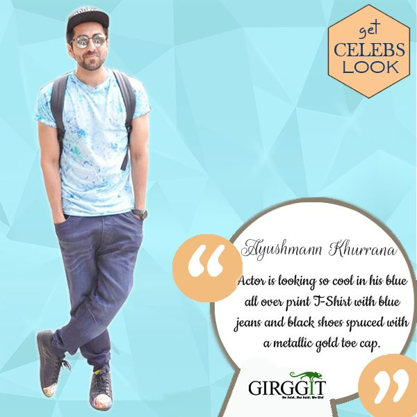 Actor Ayushmann Khurrana is looking so cool in his blue all over print T-Shirt with blue jeans and black shoes spruced with a metallic gold toe cap. He is all prepared to go on a flight. The actor will next be seen in the movie Meri Pyari Bindu. #GetTheCelebLook  #AyushmannKhurrana #Girggit #GetTheLook #CelebLook #LaunchingSoon