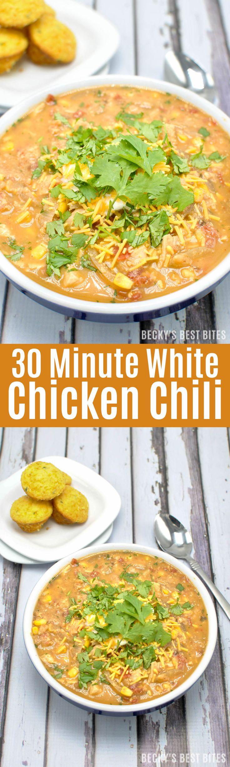 30 Minute White Chicken Chili. It's so easy to make! | White chicken ...
