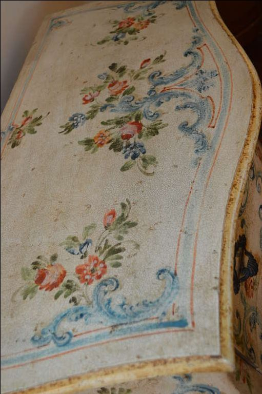 Louis XV Style Hand Painted Commode | From a unique collection of antique and modern commodes and chests of drawers at https://www.1stdibs.com/furniture/storage-case-pieces/commodes-chests-of-drawers/