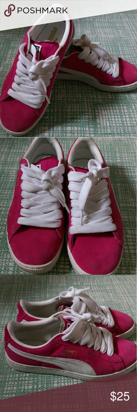 Like new! Pink Puma's Barely worn. Pink Puma classic sneakers. Size 5 in big kids = 7 women Puma Shoes Sneakers