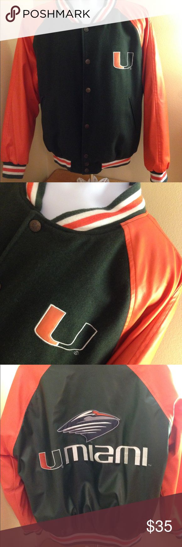 "University of Miami Jacket Sz M University of Miami Jacket Sz M in great preowned condition. Armpit to armpit 24"", arms 19"". Button up  jacket by Steve and Barry. See all pics! Steve & Barry's Jackets & Coats Bomber & Varsity"