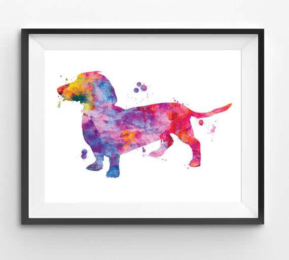 Colorful Ducshund Watercolor Print Dog Print Dog Digital
