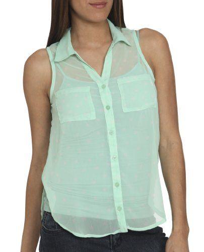 Wet Seal Women's Sleeveless Polka Dot Shirt S Beach Glass « Clothing Impulse