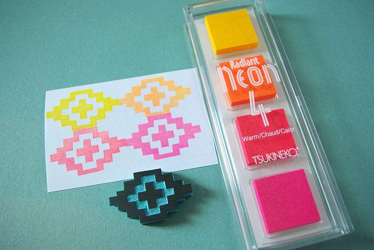 Radiant Neon. Warm colors. Fluorescent like tones. Pigmented ink pads. Find them at Monquishop.
