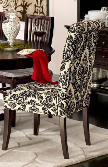 Dining chairs in statement-making damask are dramatic and classic