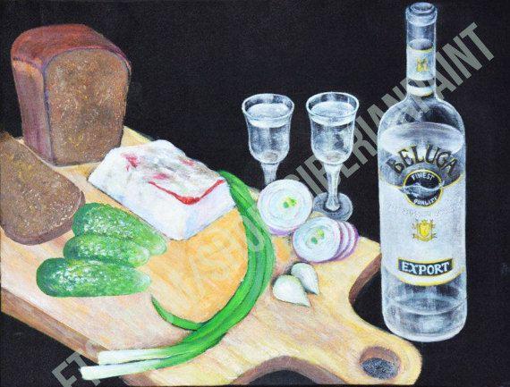Самобытное искусство живописи Акриловая живопись, краски, живопись, акрил, -Beluga водка, хлеб, огурцы, сало и лук зеленый Оригинальная картина