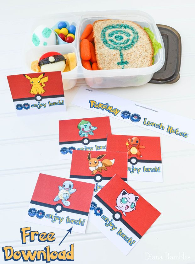 Pokémon GO Bento Lunch Box with Free Notes - Create a fun lunch with these free…