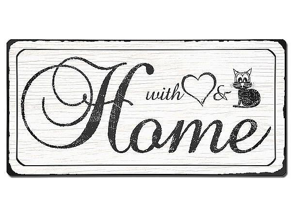 Vintage Schild Home - aus Aluminium mit Wunschtext . Vintage Style ...