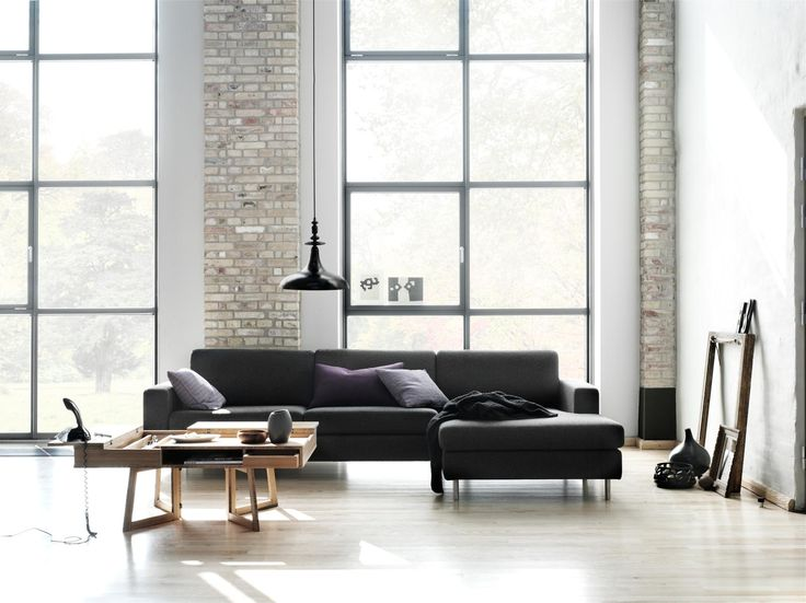 Delightful Scandinavian Design House Interior Schemes Look With Black Leather Sofa Feat Unique Wooden Coofe Table Also High Ceilling Windows As Well As Laminated Wooden Floor Feat Exposed Brick Walls 21 Applying The Scandinavian Style In Interior Design scandinavian design living room. scandinavian modern interior design. contemporary home design ideas. scandinavian design colours. decorating scandinavian style. . 620x464 pixels