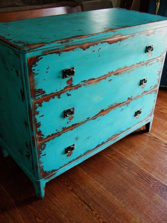 Teal Distressed Furniture | Distressed and painted furniture ( inspiration for my dining room table!)
