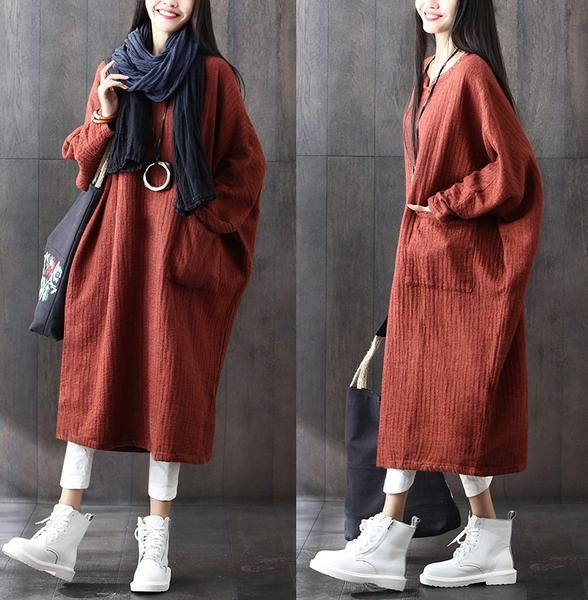 Brown woman tops large loose Cotton Linen Dress Bat Sleeve Robes