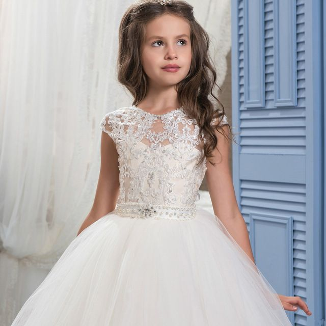 Bealegantom Backless Ball Gown Flower Girl Dresses 2017 with Appliques Beading Girls Pageant Gown First Communion Dresses FD29