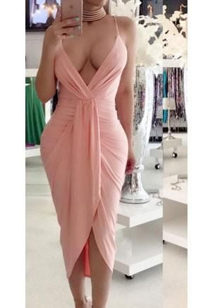 Cheap Pink Irregular Ruched Backless Spaghetti Strap Deep V-neck Party Maxi Dress Online – Bychicstyle.com