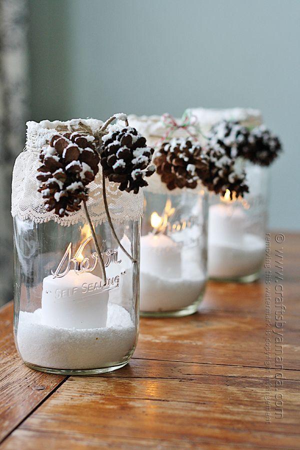Snowy Pinecone Candle Jar Luminaries @amandaformaro Crafts by Amanda #pinecones #fakesnow #masonjarcraft @snowypinecone