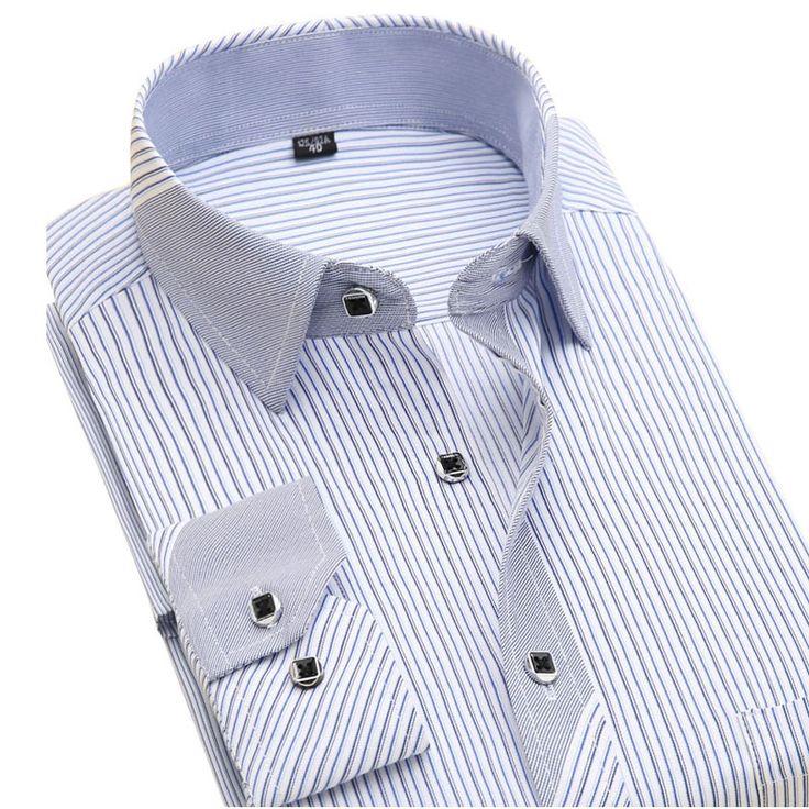 新しい2016秋のストライプファッション男性ドレスシャツ長袖ブランド服社会非鉄フォーマルビジネスメンズカジュアルシャツ