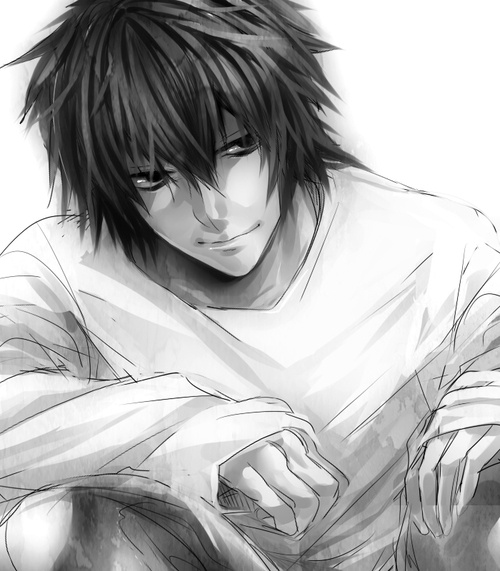 Death Note, L. I am going to write your name in my Death Note, Light Yugami. An eye for an eye, my friend.<<omg