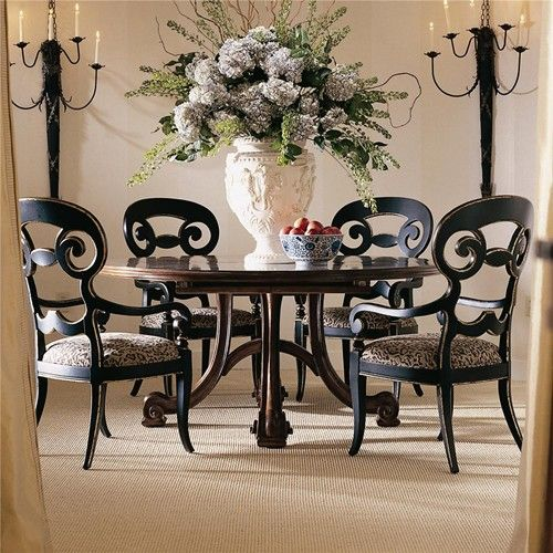 Consulate Hortense Round Dining Table And 4 Arm Chairs By Century