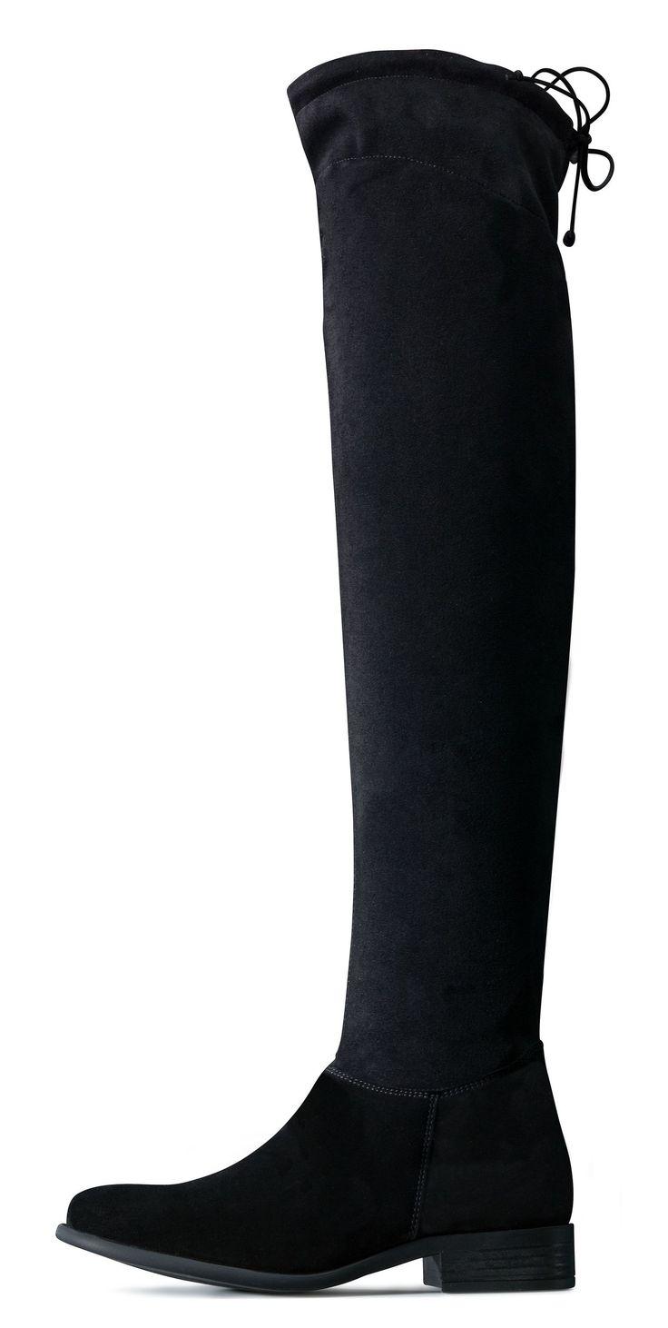 Damenstiefel schwarz mit schnurung