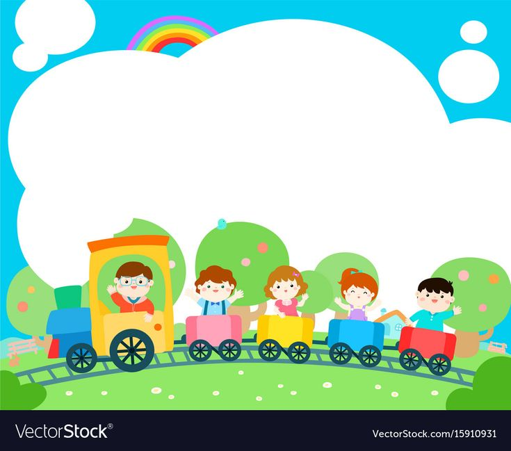 Happy children on the train, colorful vector. Ready for your message. Blank temp…